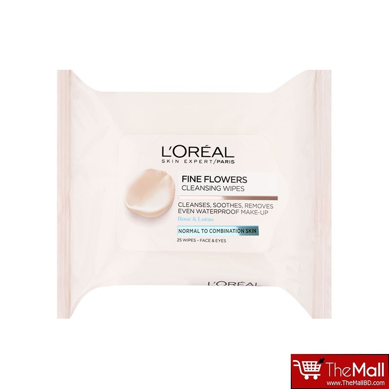 L'Oreal Paris Fine Flowers Cleansing Wipes Normal to Combination Skin 25 Wipes