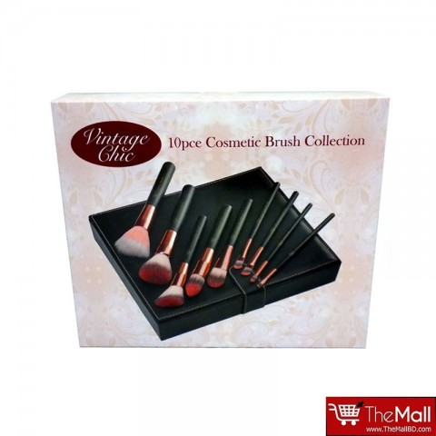 Royal Vintage Chic 10pce Cosmetic Brush Collection Set