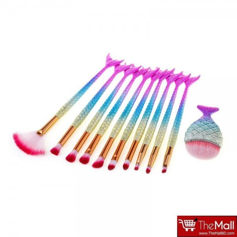 Yurily Mermaid Tail Makeup Brushes Set 11 Pieces