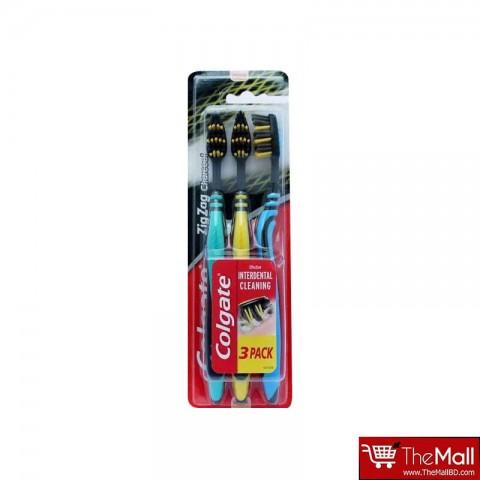 Colgate Zigzag Charcoal Toothbrush 3pk - Yellow