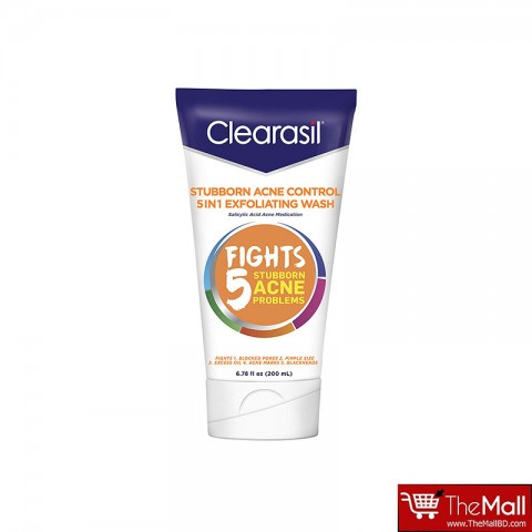 Clearasil Stubborn Acne Control 5 in 1 Exfoliating Wash - 200ml