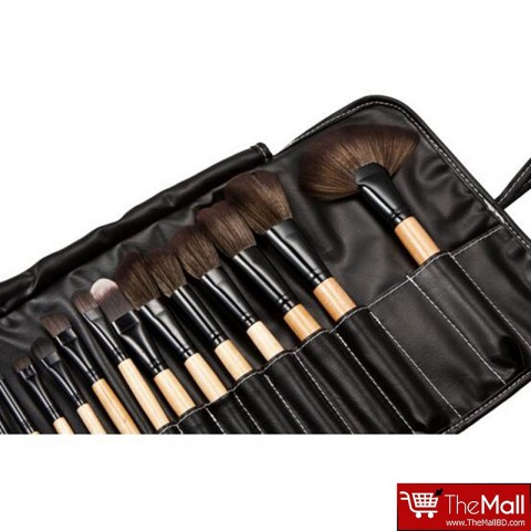 Lilyz Makeup Brush Set Black 24 Pcs - Natural Wood (3022)