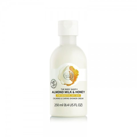 The Body Shop Almond Milk & Honey Soothing & Caring Shower Cream For Sensitive, Dry Skin 250ml