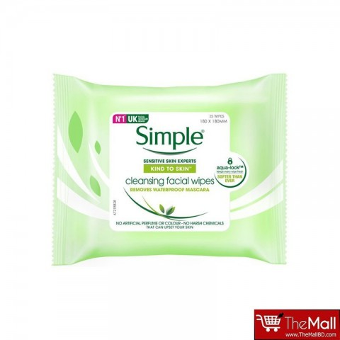 Simple Kind To Skin Cleansing Facial Wipes Sensitive Skin 25's