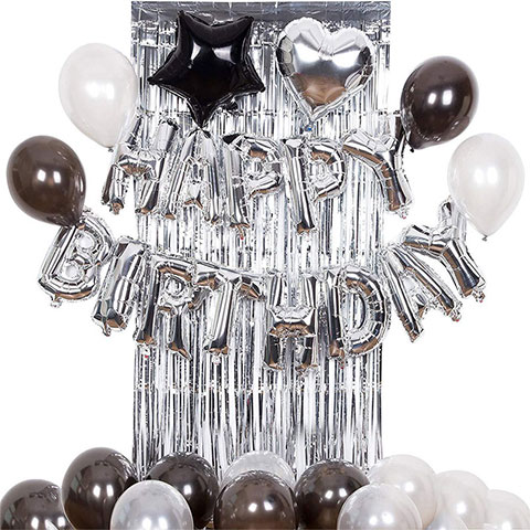 Adult Happy Birthday Banner Aluminum Foil Silver Balloon Package