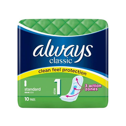 Always Classic Clean Feel Protection Standard Size 1 Pads -10 Pads