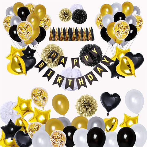 Black & Gold Birthday Balloon Horizontal Tassel Set - 99Pcs