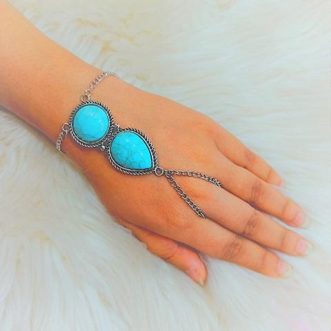 Bohemian Beach Retro Ethnic Turquoise Finger Bracelet (20136)