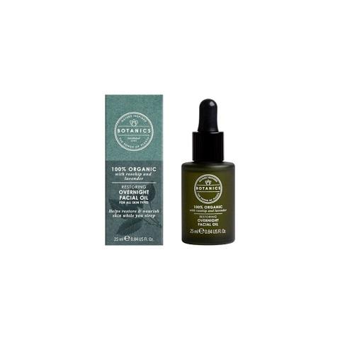 Boots Botanics 100% Organic Restoring Overnight Facial Oil 25ml