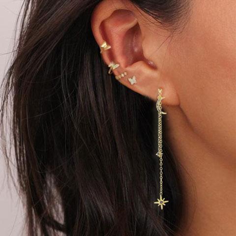 Butterfly Star Moon Rhinestone Earring Set - 5 pcs (20147)