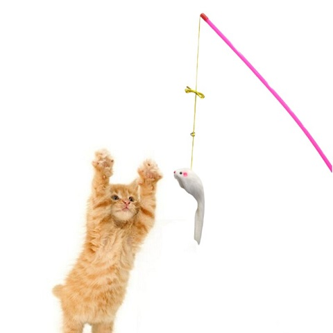Cat Toy Fishing Rod Mouse Funny Cat stick - Pink (20231)