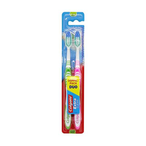 Colgate Extra Clean Medium Toothbrush Duo Pack - Green & Pink
