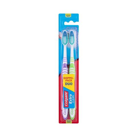 Colgate Extra Clean Medium Toothbrush Duo Pack - Purple & Green