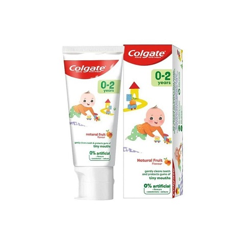 Colgate Natural Fruit Flavour Flouride Toothpaste For Baby 50ml - (0-2) years