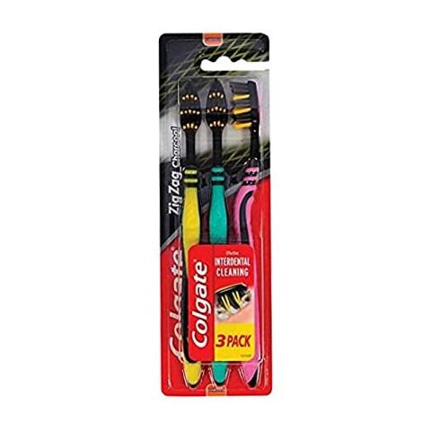 Colgate Zigzag Charcoal Toothbrush 3pk - Pink