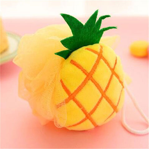 Colorful Fruit Shaped Flower Bath Wipe - Yellow Pink