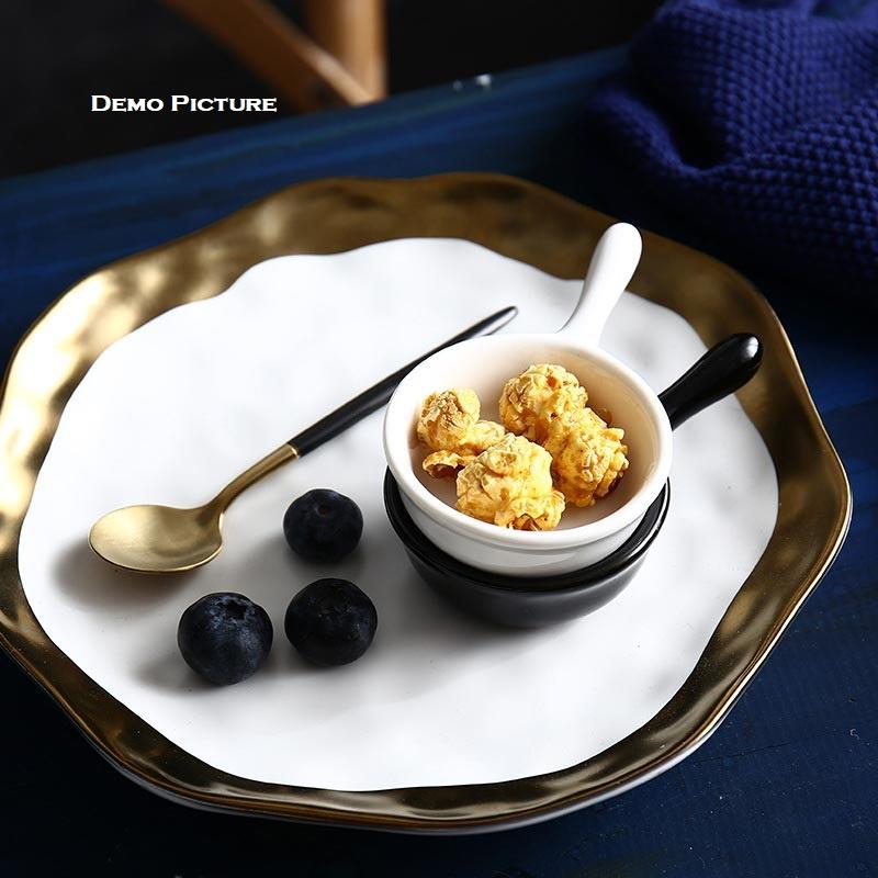 Creative Japanese Style Mini Ceramic Dish with Handle - Black