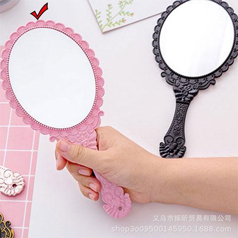 Creative Retro Pattern Handle Makeup Mirror - Pink