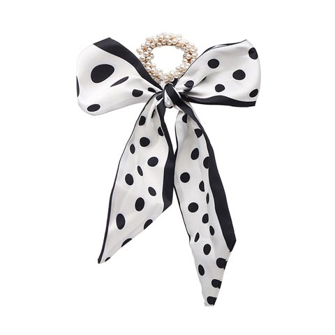 Fashion Pastoral Style Romantic Silk Scarf Ribbon Pearl Headband - Black Dot
