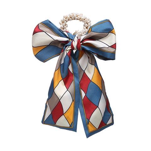 Fashion Pastoral Style Romantic Silk Scarf Ribbon Pearl Headband - Blue & Maroon