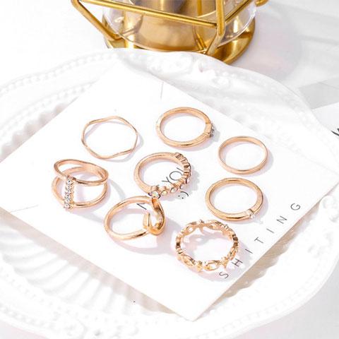 Fashionable Gold Plated Retro Luxury Ring Set