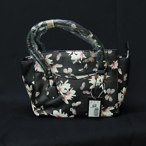 Flower Print Ladies Handbag (218) - Butterfly Black