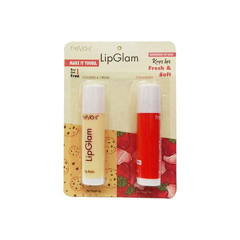 Freyias LipGlam Cookies-Cream & Strawberry Waterproof Lip Balm 2x4g