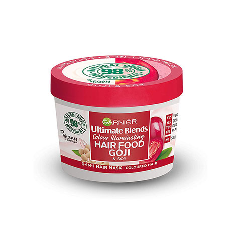 Garnier Ultimate Blends Colour Illuminating Hair Food Goji & Soy 3 In 1 Hair Mask 390ml