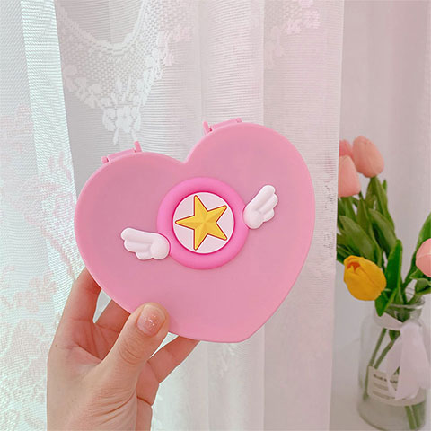 Girl Heart Double Layer Jewelry Desktop Box - Pink