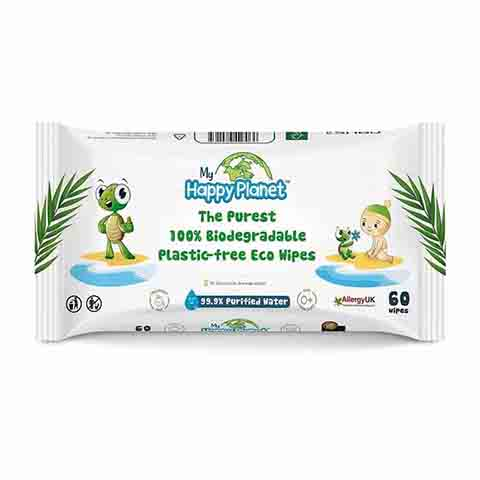 Happy Planet The Purest 100% Bio Degradable Plastic Free Eco Wipes - 60 Wipes