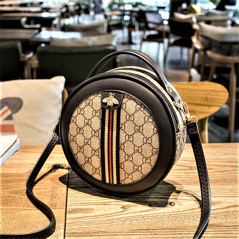 Ladies Trendy GD Printed Small Round Bag