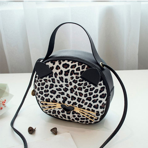 Leopard print small Round Bag