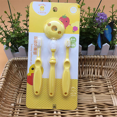 Little Chick Keaide Biddy Baby Training Toothbrush Set - Yellow