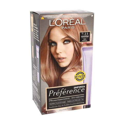 L'oreal Infinia Preference New Rose Gold Reflects Colour Extender Permanent Hair Colour - 7.23 Rose Gold