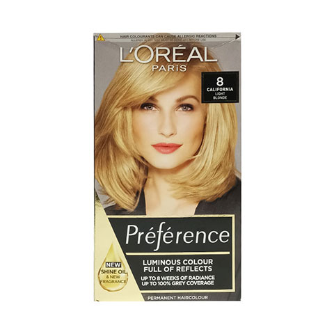 L'oreal Paris Preference Luminous Color Full Of Reflects Permanent Hair Colour - 8 California Light Blonde