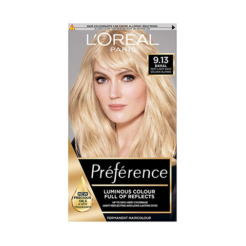 L'Oreal Paris Preference Luminous Permanent Hair Colour - 9.13 Very Light Ashy Golden Blonde