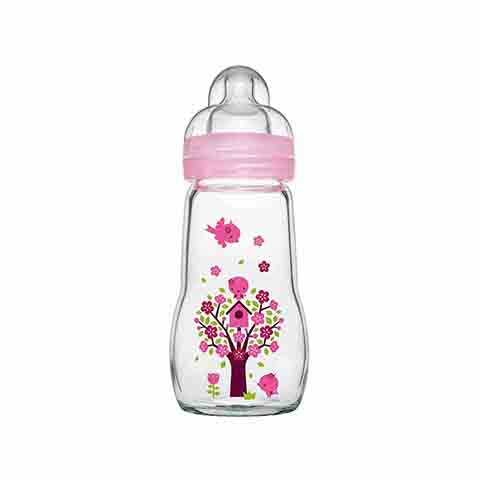 MAM Feel Good Baby Glass Bottle 260ml - Pink