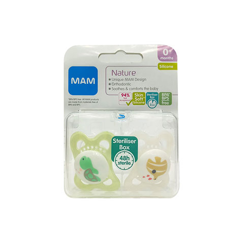 MAM Nature Silicone Soothers With Steriliser Box 0m+ - White & Green