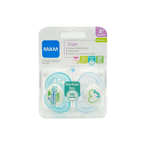 MAM Style Silicone Soothers With Steriliser Box 6m+ - I Love Mummy (Blue)