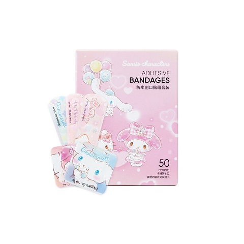 Miniso Sanrio Characters Waterproof Adhesive Bandages Combination Pack - 50 Counts (20243)
