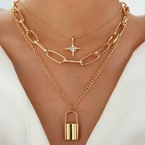 Multi Layer Eight Pointed Star Lock Pendant Thick Chain Necklace (20131)