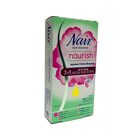 Nair Nourish Japanese Cherry Blossom 7 In 1 Ultra Facial Wax Strips - 20 Strips