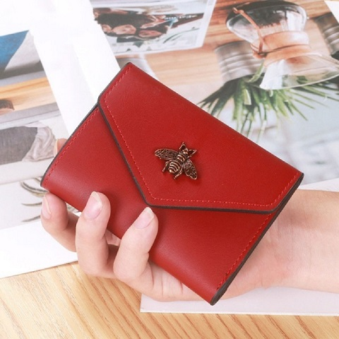 New Ladies Solid Color Leather Bee Short Wallet