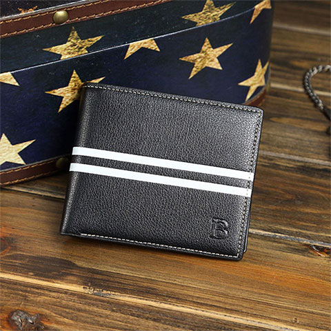 New Striped B - Shaped Wallet - Black