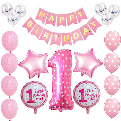 One Year Old Birthday Party Balloon Set - Pink Girl