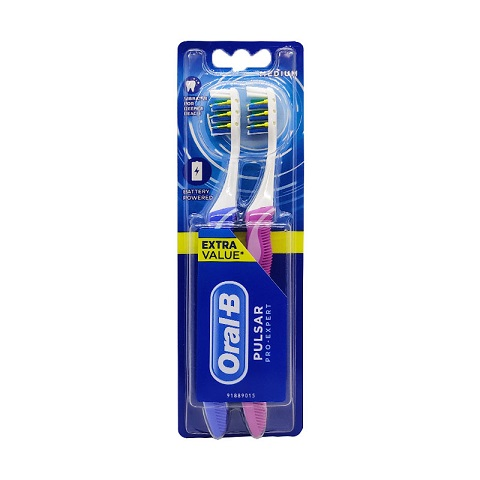 Oral-B Pro Expert Pulsar Medium Toothbrush 2pc - Blue & Purple