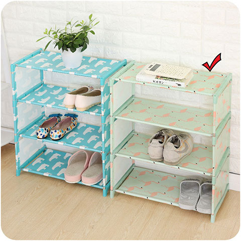 Oxford Cloth Simple Shoe Rack - Green
