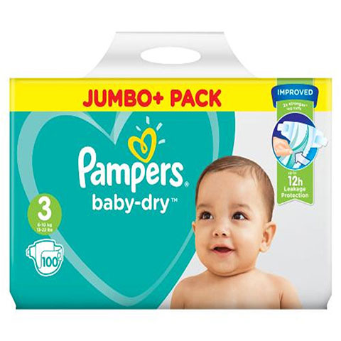 Pampers Baby Dry Belt Up To 12h 3 (6-10 kg) UK 100 Nappies