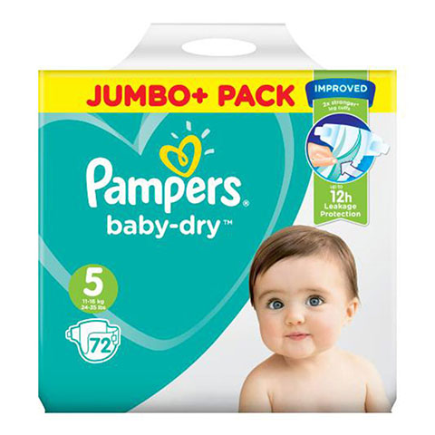 Pampers Baby Dry Belt Up To 12h 5 (11-16 kg) UK 72 Nappies