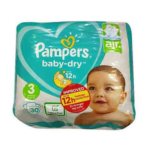 Pampers Baby Dry Nappy Pants Up To 12h 3 (6-10 kg) 30 Nappies